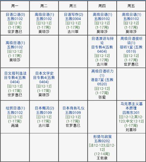 中国の大学の時間割